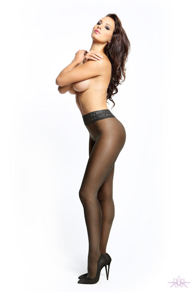 MissO 20 Denier Shiny Open Crotch Lace Black Tights - Mayfair Stockings
