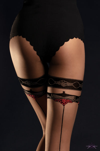 Fiore Taboo Faux Hold-up Tight - Mayfair Stockings