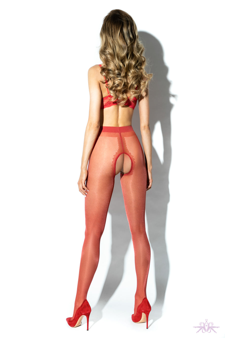 Amour Gloss Crotchless Red Tights - Mayfair Stockings