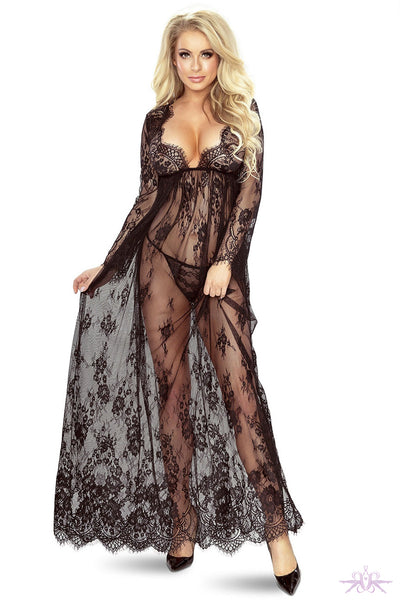 Provocative Long Lace Gown - Mayfair Stockings
