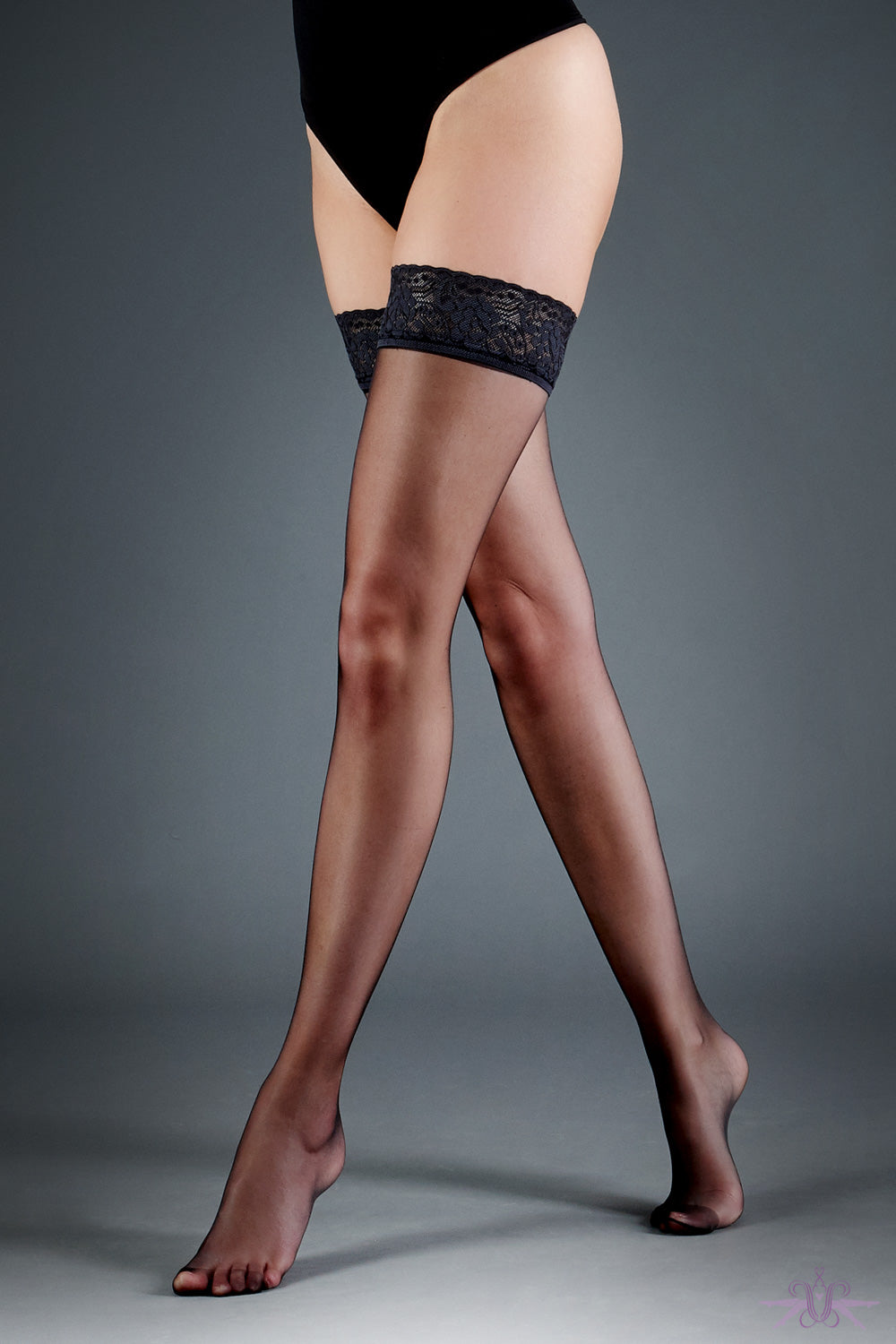 Bluebella Black Lace Top Hold Ups - Mayfair Stockings