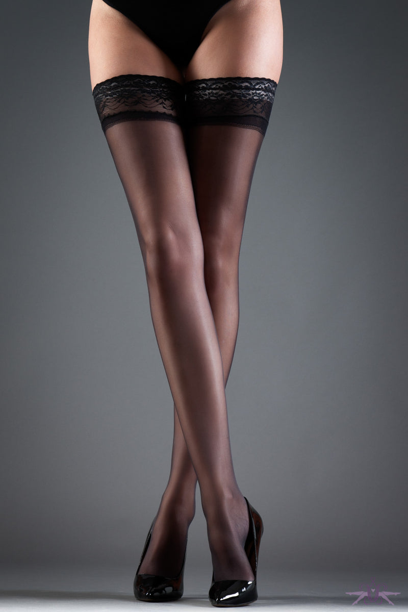 Bluebella Black Lace Top Hold Ups