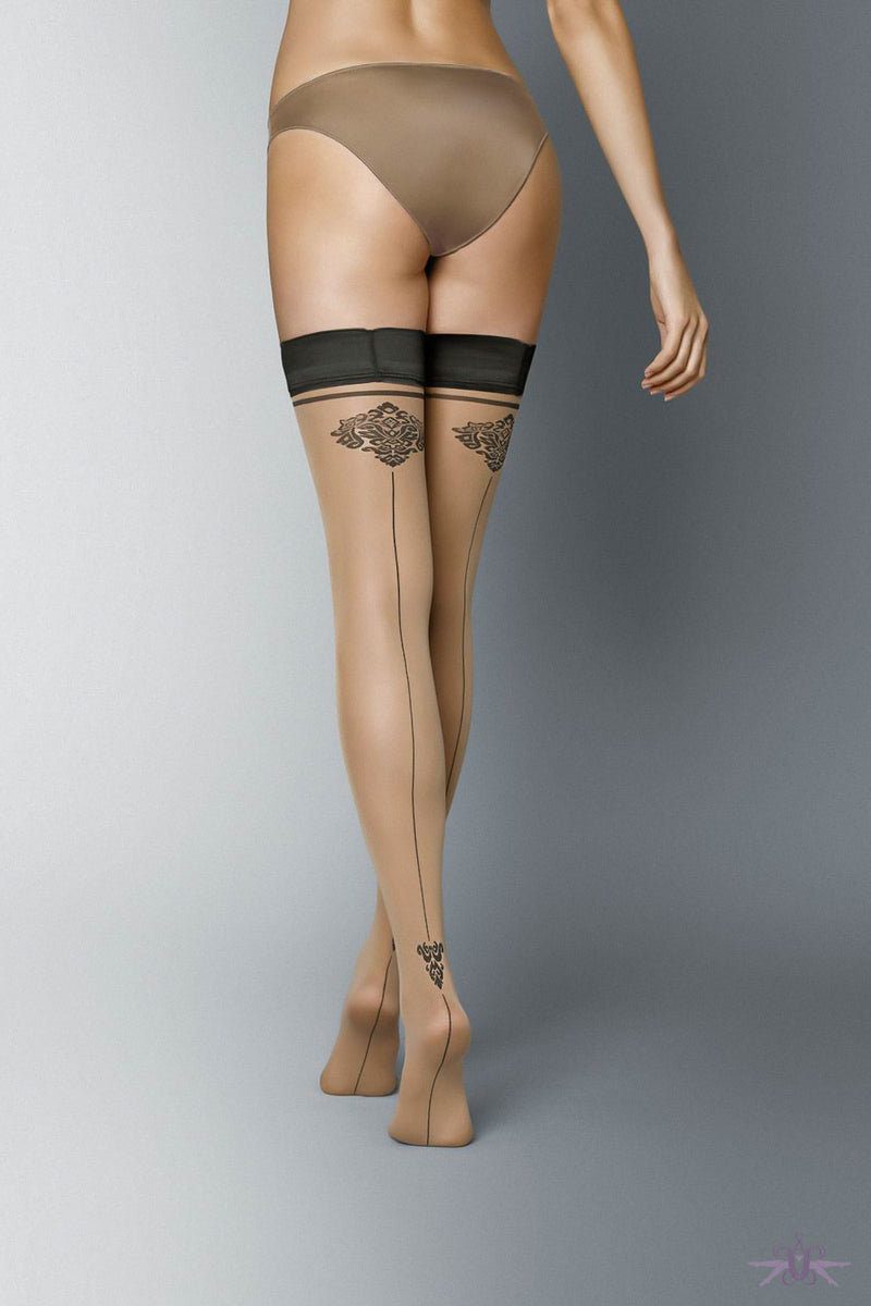 Veneziana Carmine Hold Ups - Mayfair Stockings