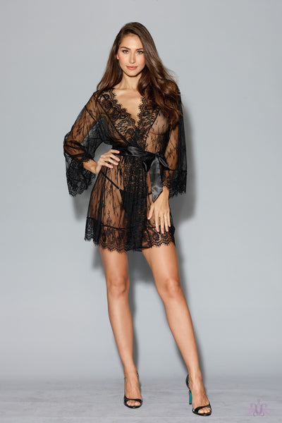 Black Long Sleeved Lace Gown - Mayfair Stockings