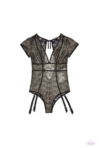 Playful Promises Gold Foil Lace Bodysuit with Suspenders - Mayfair Stockings