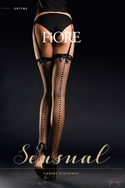 Fiore Satine Fishnet Stockings - Mayfair Stockings