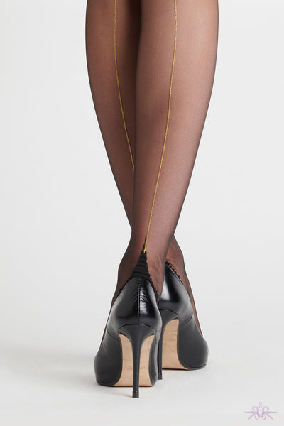 Maison Close Point Heel Nylon Stockings Black and Gold - Mayfair Stockings
