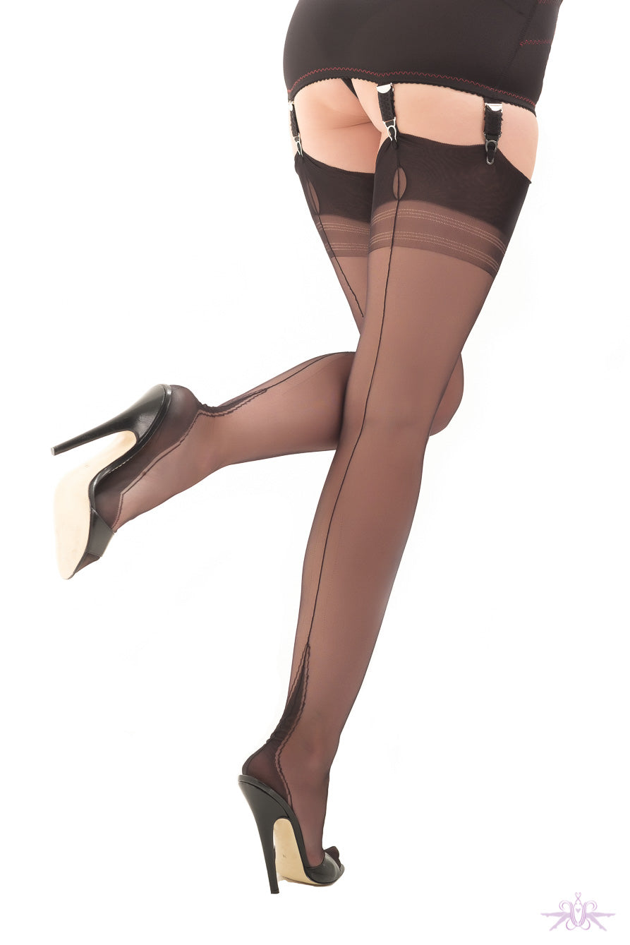 Gio Harmony Point Heel Fully Fashioned Stockings - Mayfair Stockings