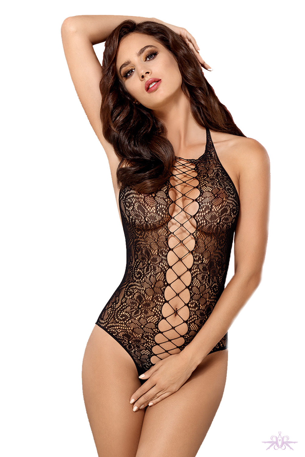 Obsessive Lace Up Fishnet Bodysuit - Mayfair Stockings