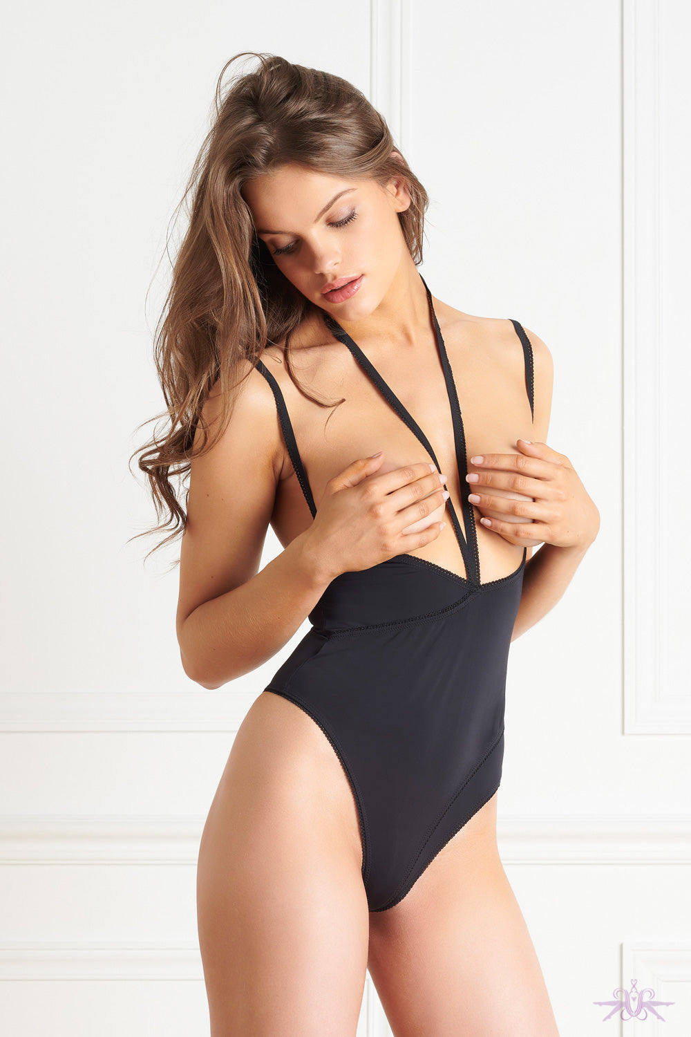 Maison Close Le Petit Secret Black Naked Breast Thong Body