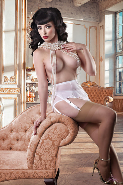 Mayfair Eloise 6 Strap Sheer Suspender Belt - Mayfair Stockings