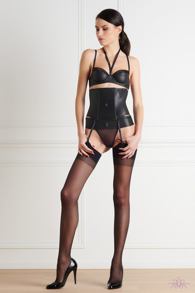 Maison Close Black Stockings with Black Seam - Mayfair Stockings