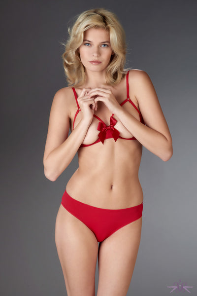 Maison Close Le Petit Secret Red Cupless Bra with Bow - Mayfair Stockings
