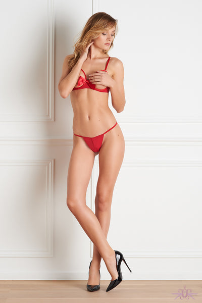 Maison Close Le Petit Secret Red Open Thong - Mayfair Stockings
