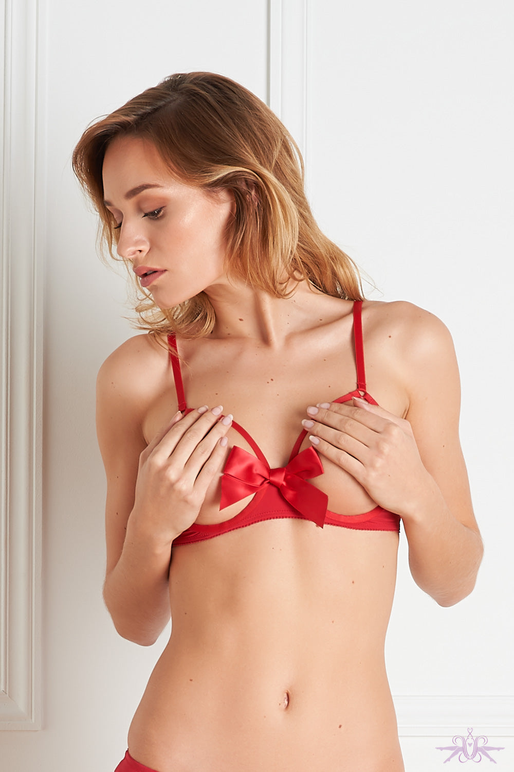 Maison Close Le Petit Secret Red Cupless Bra with Bow