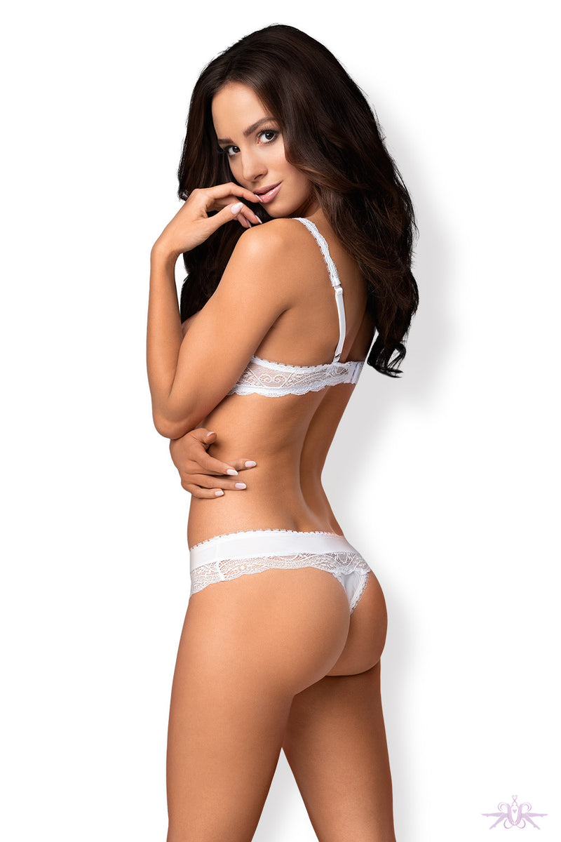Obsessive Miamor White Half Bra and Thong - Mayfair Stockings