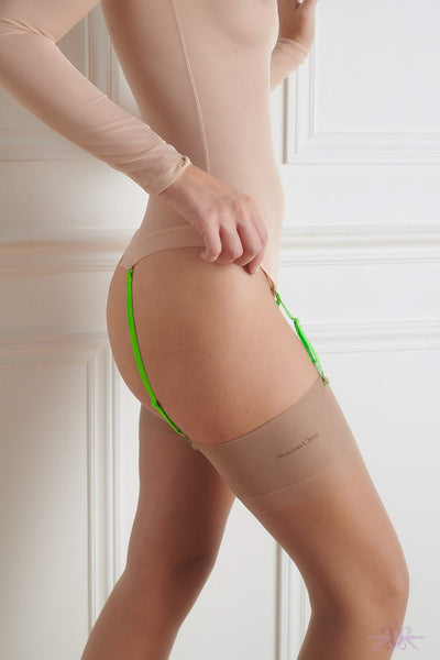 Maison Close Authentique Nude and Neon Green Nylon Stockings