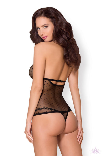 Obsessive Black Polka Dot Bodysuit - Mayfair Stockings