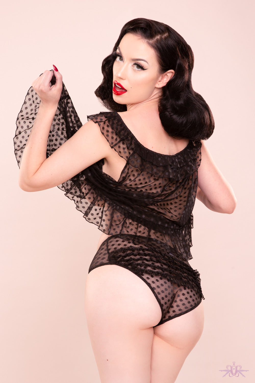 Bettie Page Dot Mesh Babydoll and Brief - Mayfair Stockings