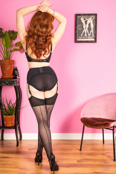What Katie Did Contrast Black Seamed Stockings