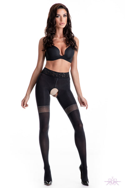 Amour Glamour 80 Crotchless Black Tights