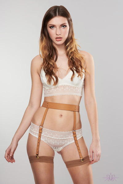 Bijoux Indiscrets Maze Brown Suspender Belt