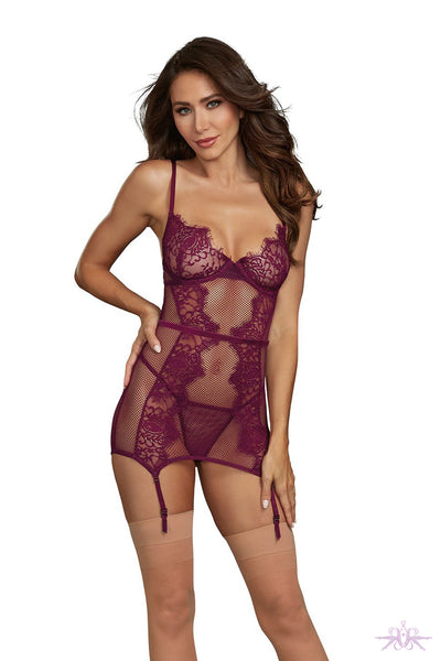 Dreamgirl Mulberry Garter Slip and Thong