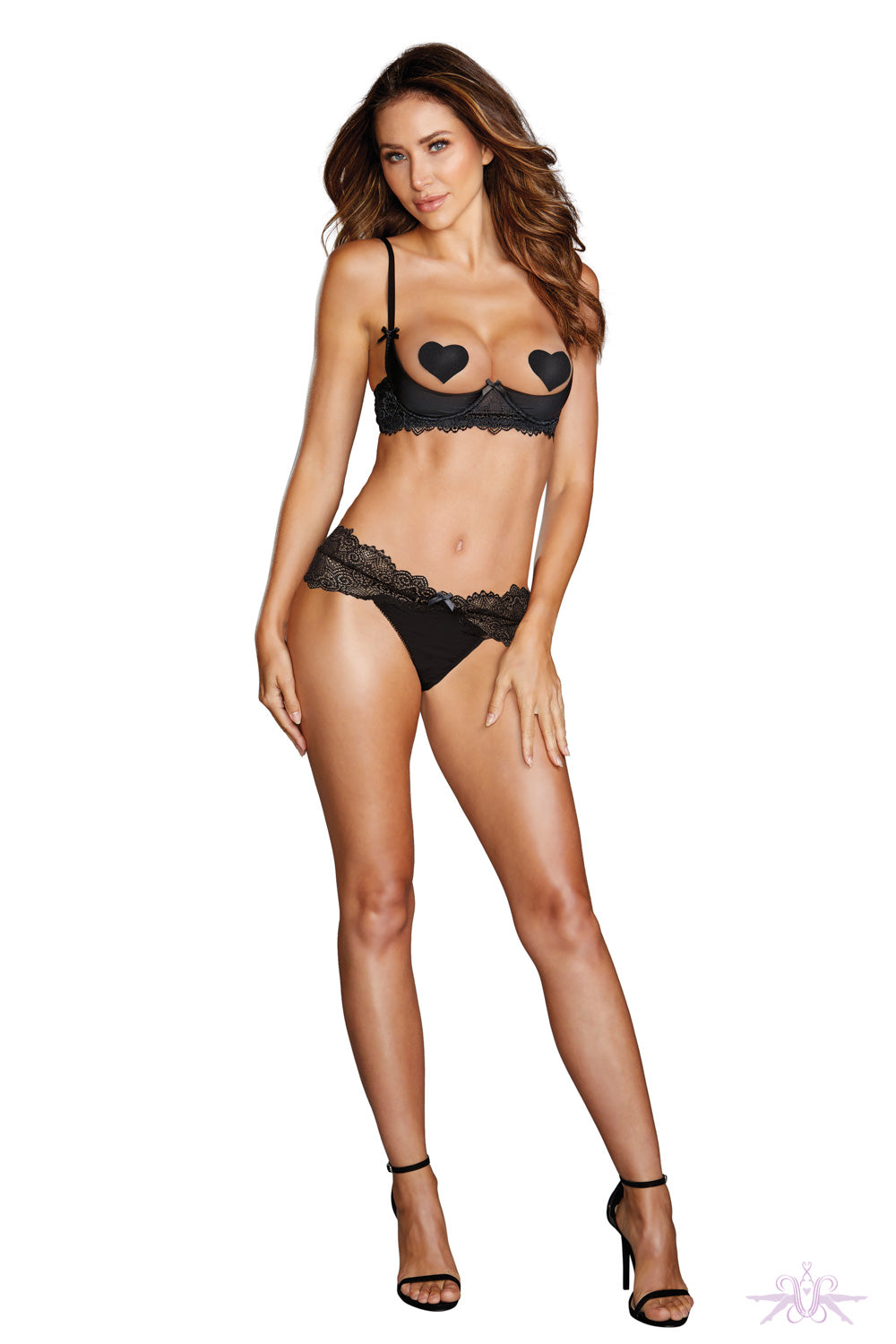 Dreamgirl Half Bra and Thong Two Piece Set