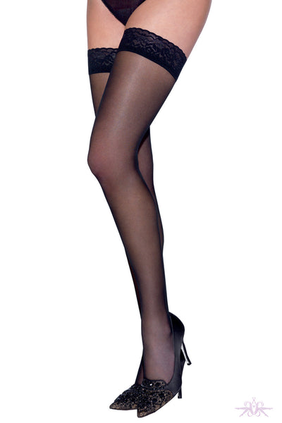 Le Bourget Voile Satine 20 Black Lace Hold Ups
