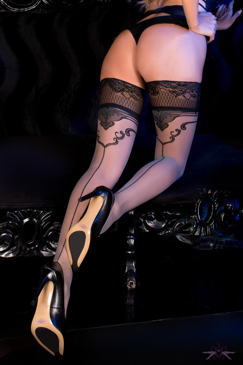Ballerina Grey and Black Seamed Hold Ups