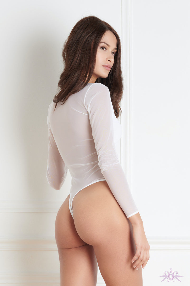 Maison Close Pure Tentation Long Sleeved White Thong Body