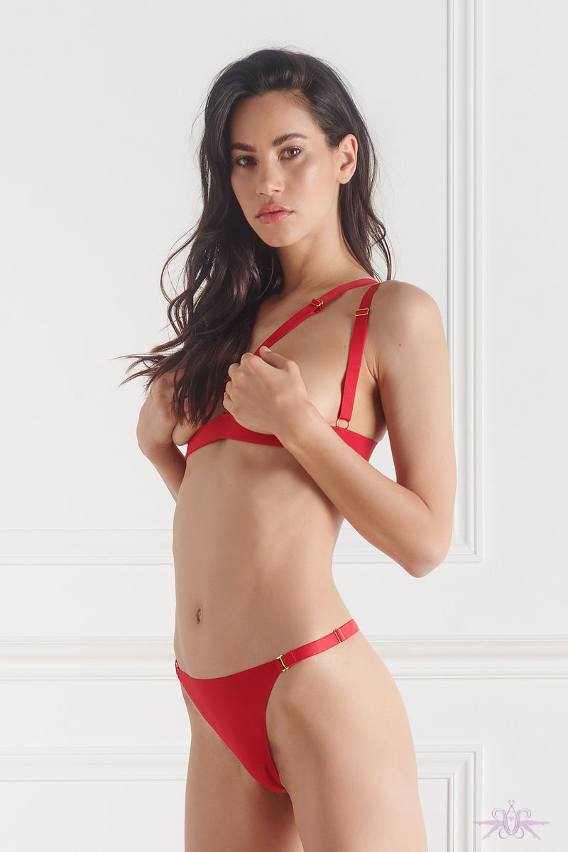 Maison Close Tapage Nocturne Red Cupless Triangle Bra