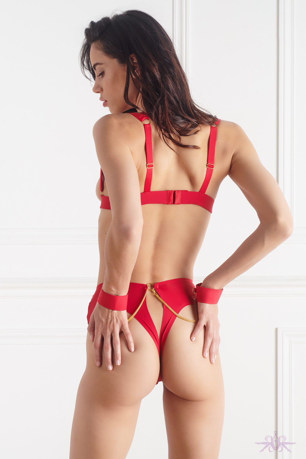 Maison Close Tapage Nocturne Openable High Waist Thong with Cuffs