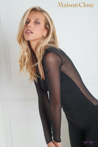 Maison Close Pure Tentation Long Sleeved Black Catsuit
