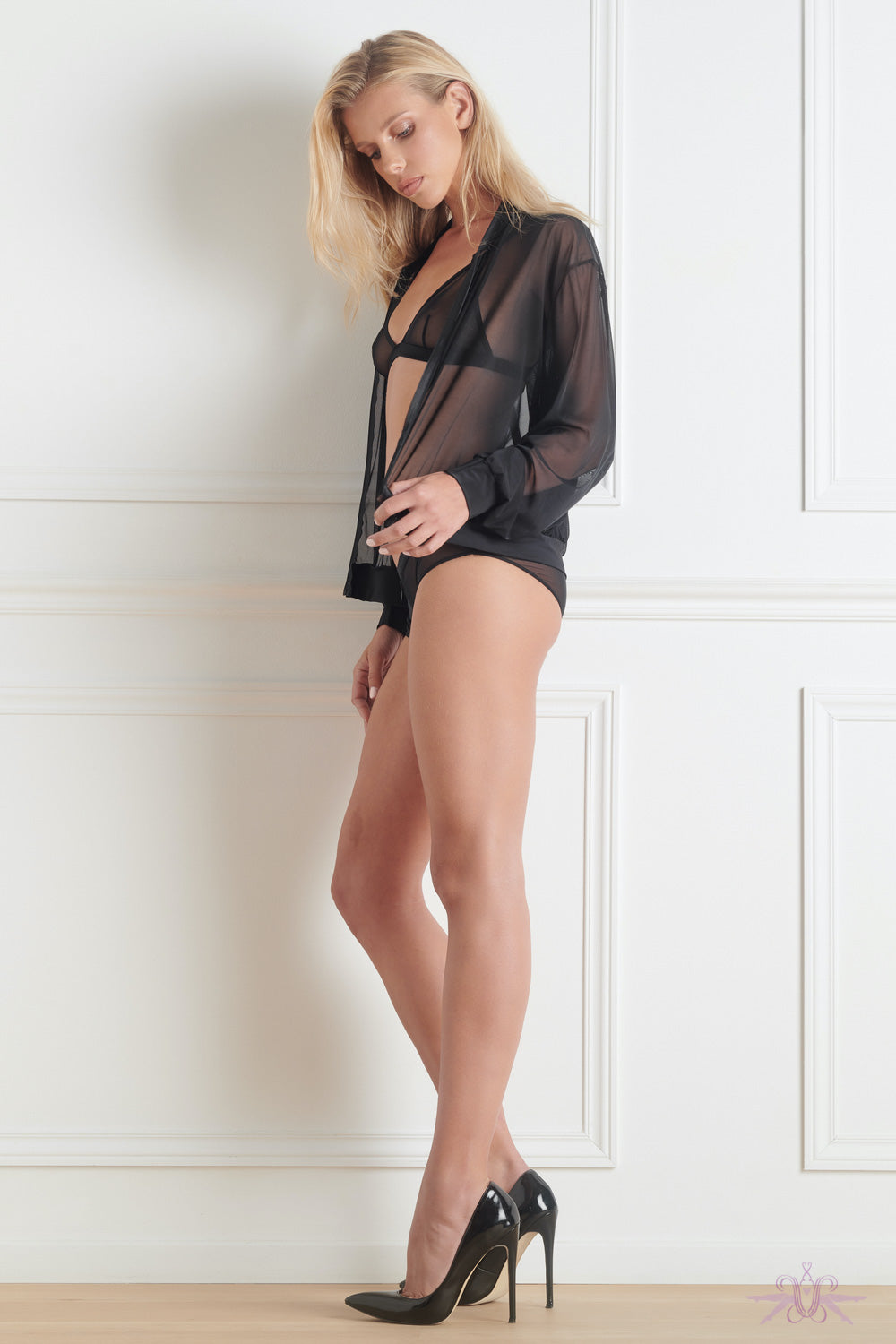 Maison Close Pure Tentation Sheer Black Bomber Jacket