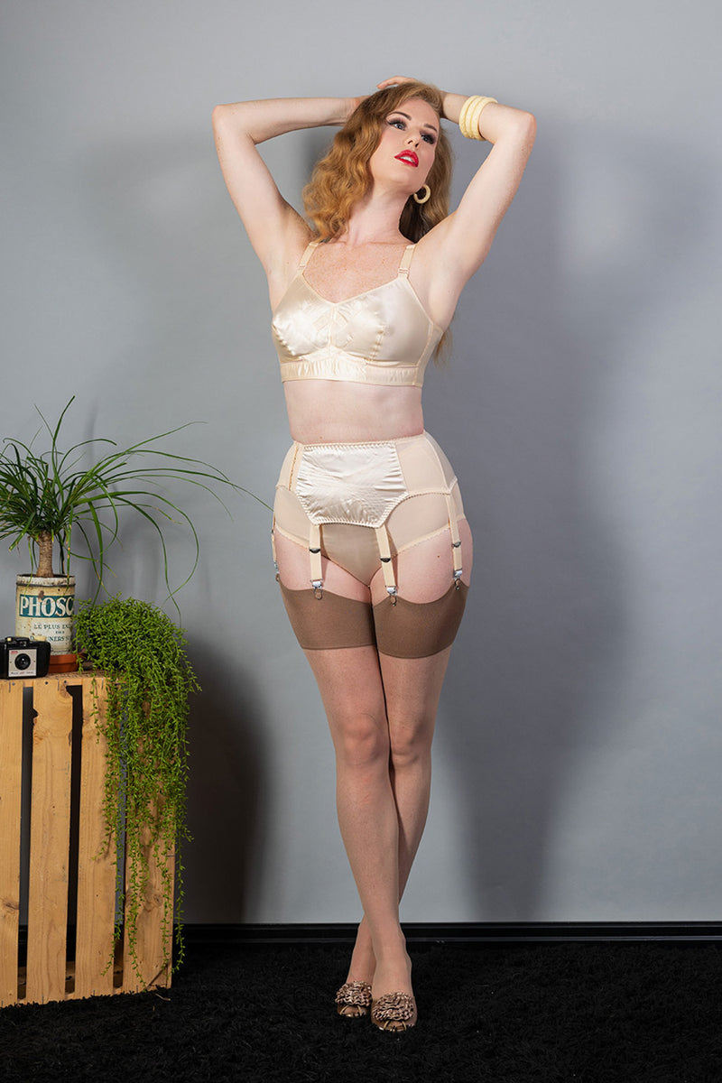 What Katie Did Contrast Nude/Latte Seamed Stockings - Mayfair Stockings