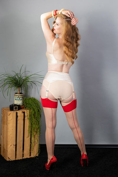 What Katie Did Contrast Nude/Red Seamed Stockings - Mayfair Stockings