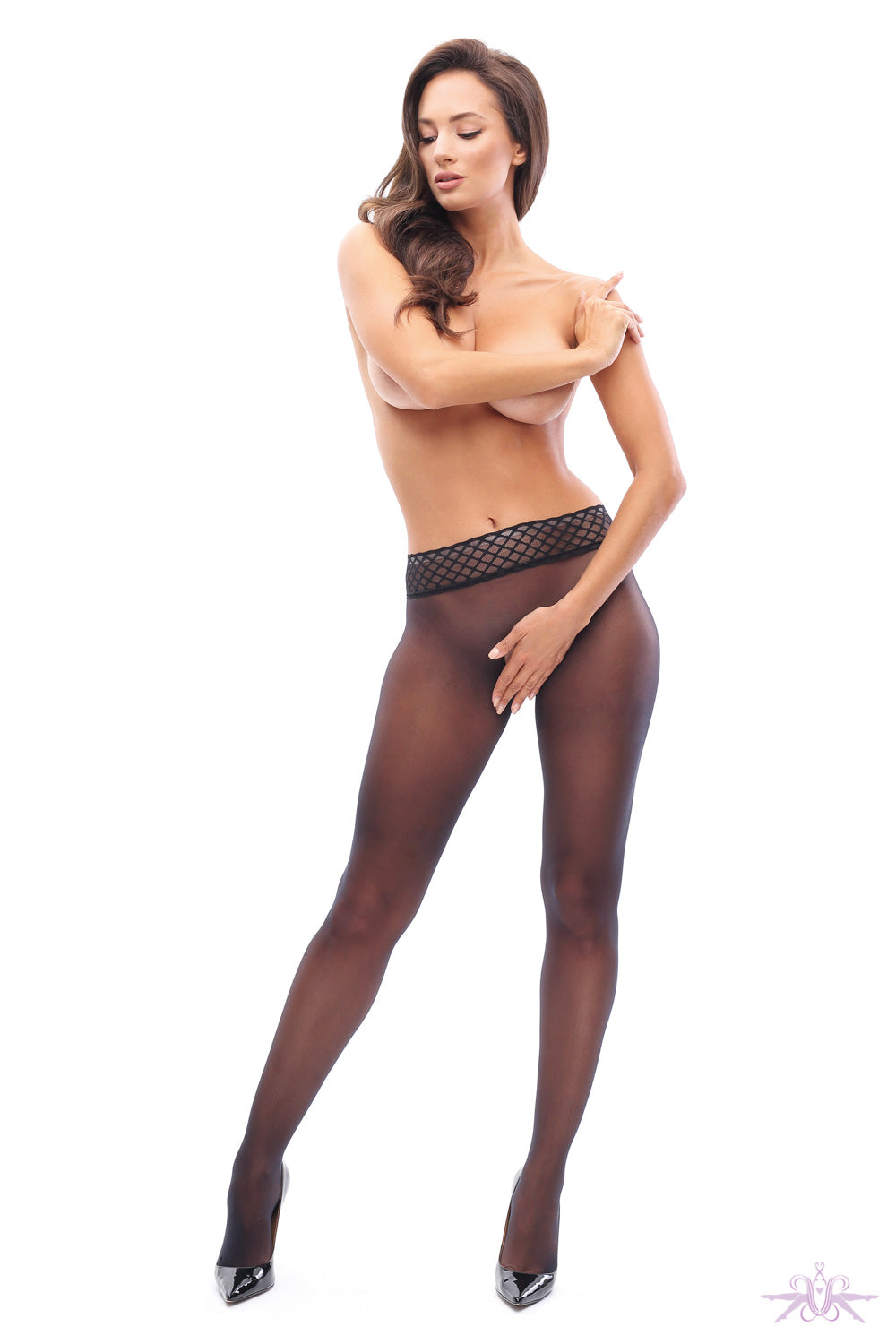 MissO 20 Denier Seamless Open Crotch Black Tights
