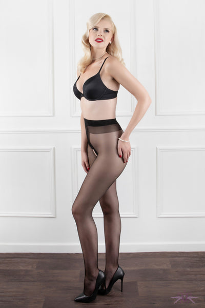 Mayfair Open Gloss Black Tights