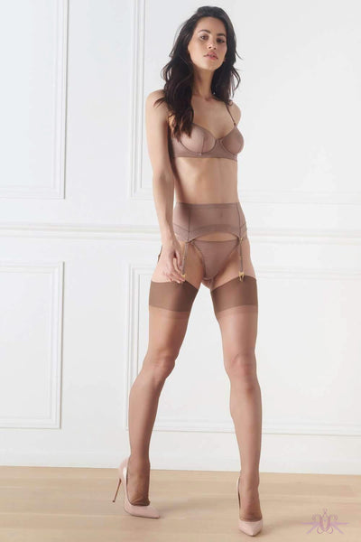 Maison Close Authentique Gingersnap and Pink Nylon Stockings