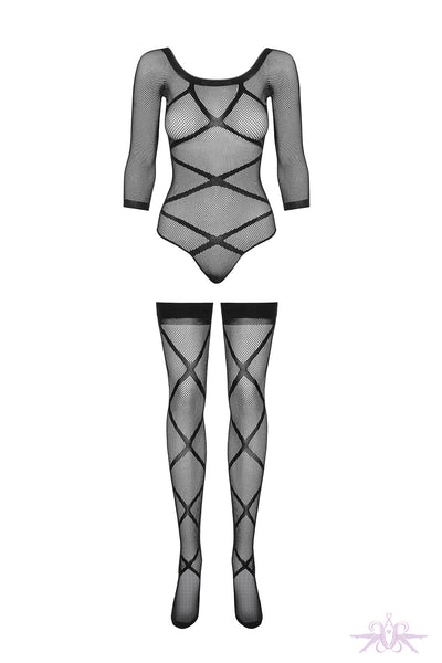 Obsessive Black Criss Cross Bodysuit and Stay Ups - Mayfair Stockings