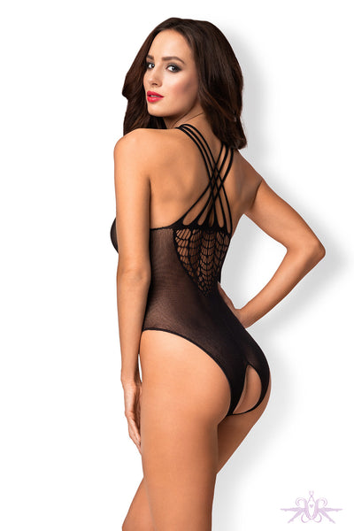 Obsessive Black Open Knit Bodysuit - Mayfair Stockings
