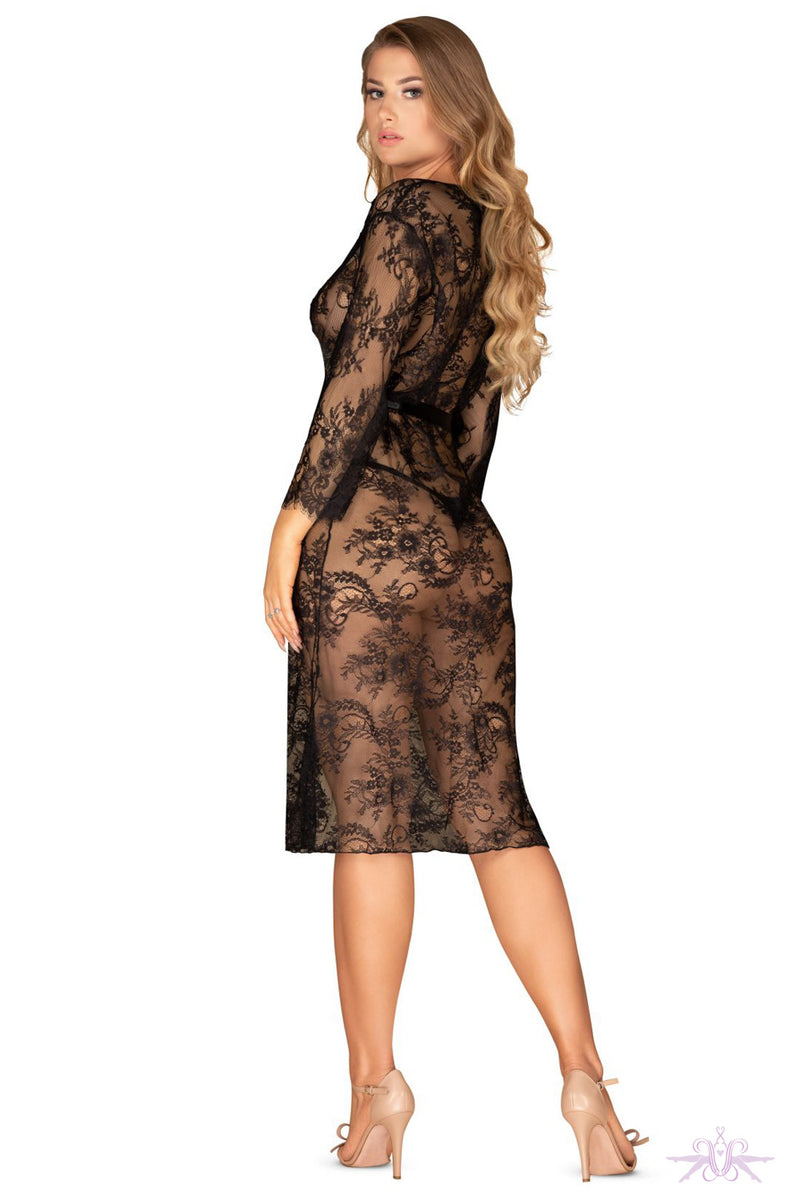 Obsessive Black Lace Peignoir