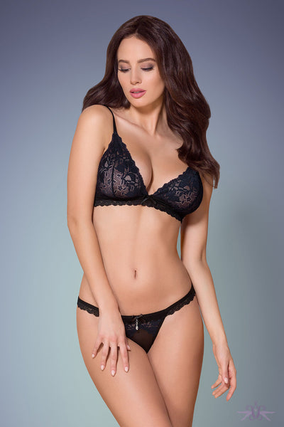 Obsessive Navy and Black Lace Bra and Thong set