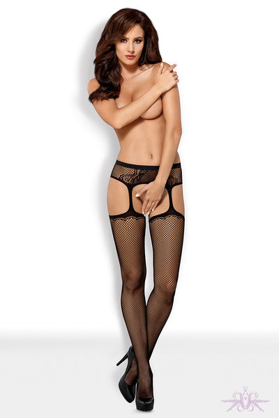 Obsessive Black Fishnet Garter Stocking - Mayfair Stockings