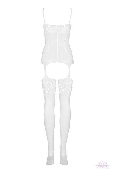 Obsessive Floral Lace White Bodystocking