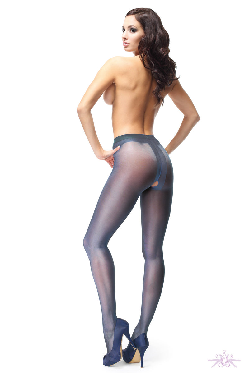 MissO 20 Denier Shiny Open Crotch Navy Tights