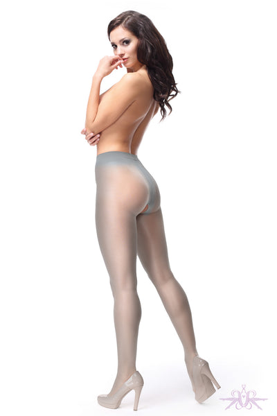 MissO 40 Denier Shiny Open Crotch Grey Tights - Mayfair Stockings