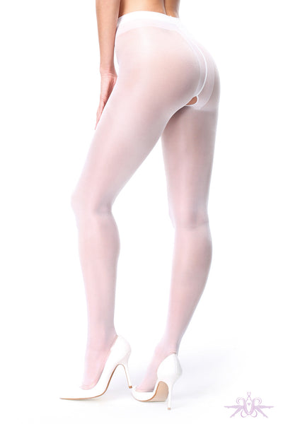 MissO 40 Denier Shiny Open Crotch White Tights - Mayfair Stockings