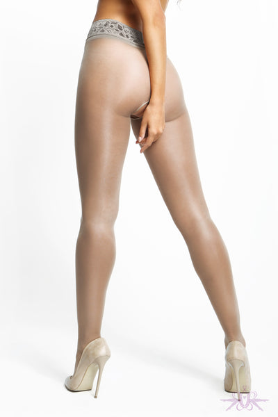 MissO 20 Denier Shiny Open Crotch Lace Grey Tights - Mayfair Stockings